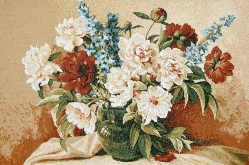 Peony Floral Still Life Tapestry Wall Hanging - Flowers In A Vase Picture, 34in x 24in