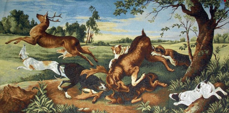 Prey Hunting Scene Tapestry Wall Hanging - Dog Picture, 60in x 30in