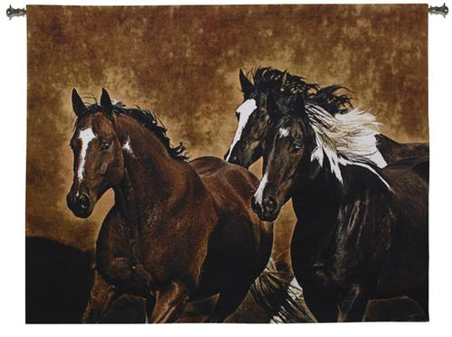 Ready To Run Horse Tapestry Wall Hanging - Western Picture, 65in x 53in