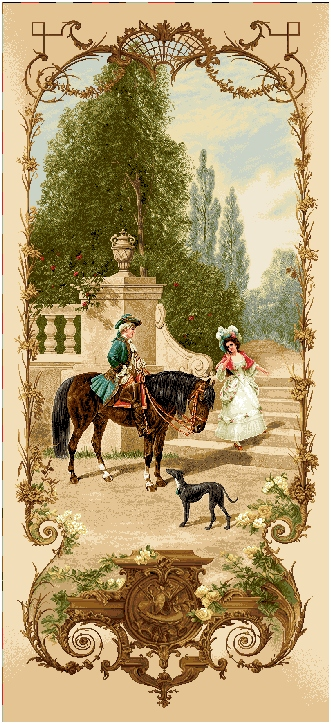 Lesson of Riding Romantic Pastoral Scene Tapestry Wall Hanging, H68inx W28in