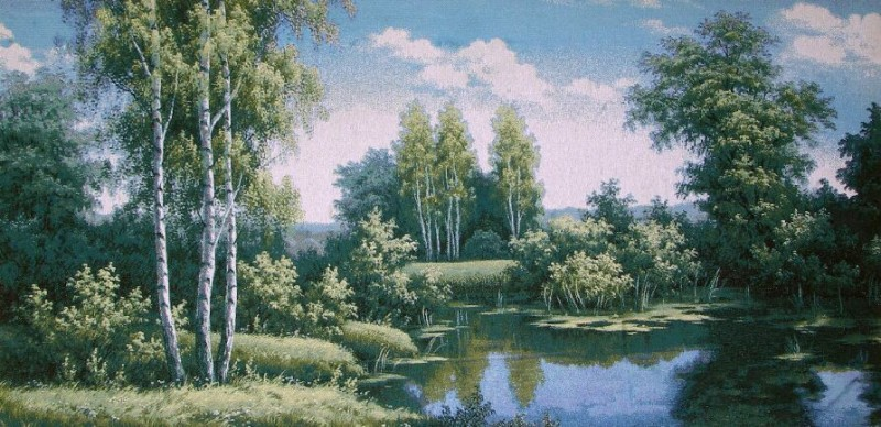 River In Forest Wood Scene Tapestry Wall Hanging - Landscape Picture, 40in x 19in