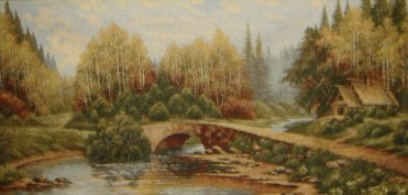 Roadside Cottage Forest Scene Tapestry Wall Hanging - Landscape Picture, 40in x 19in
