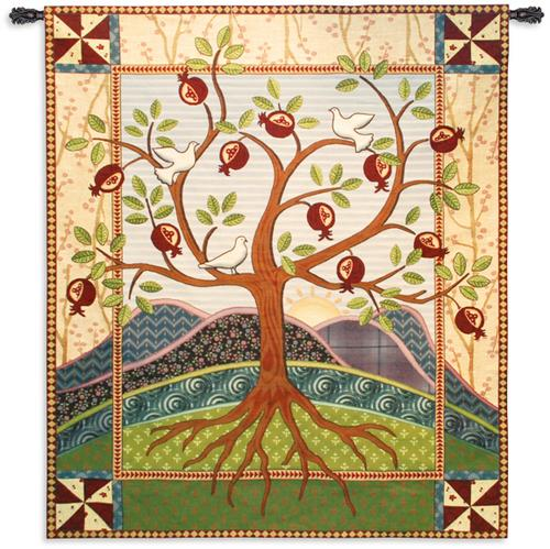 Roots and Wings Tapestry Wall Hanging - Abstract Tree Of Life, 53in x 62in