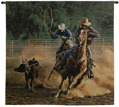 Roping On The Ranch III Cowboy Tapestry Wall Hanging - Western Picture, 53in x 53in