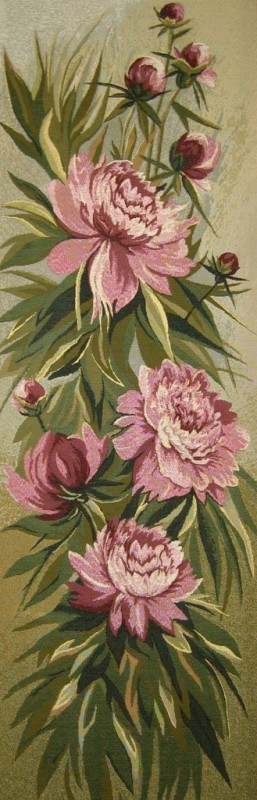 Rose Color Floral Still Life Tapestry Wall Hanging - Botanical Design, 15in x 44in