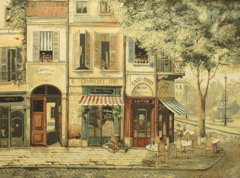 Rues De Paris Cafe Scene Tapestry Wall Hanging, H56in x W40in