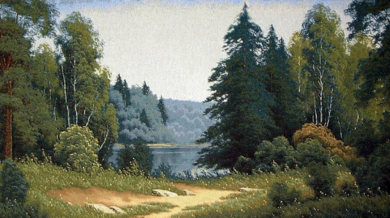 Russian Wood Forest Scene Tapestry Wall Hanging - Landscape Picture, 52in x 30in