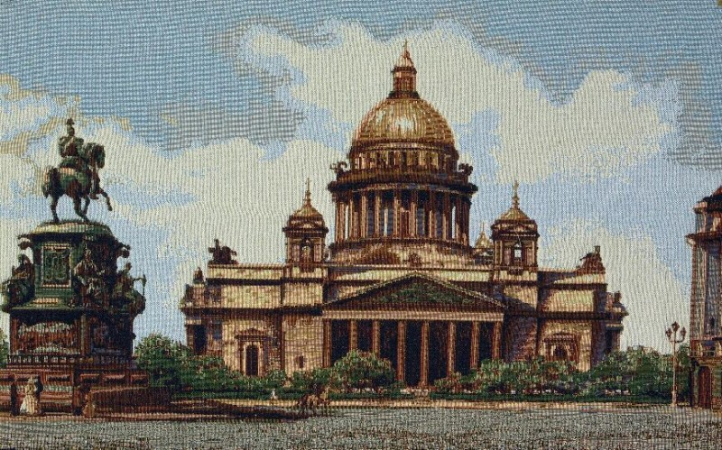 Saint Isaac Cathedral European Cityscape Tapestry Wall Hanging - City Picture, 32in x 20in