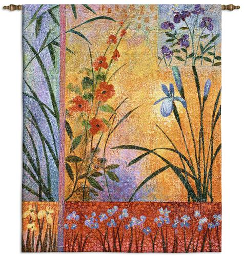 Sassafrass Tapestry Wall Hanging - Abstract Floral Design, 42in x 53in