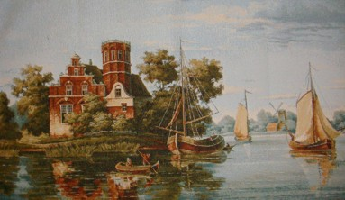 Sea Gulf Nautical Scene Tapestry Wall Hanging - Historical Picture, 40in x 24in