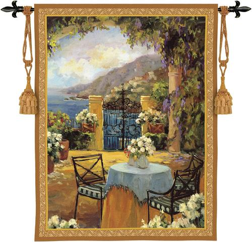 Seaside Terrace Tapestry Fine Art Picture, 41in X 53in