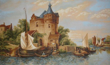 Ship By The Berth Nautical Scene Tapestry Wall Hanging - Old World Picture, 38in x 24in