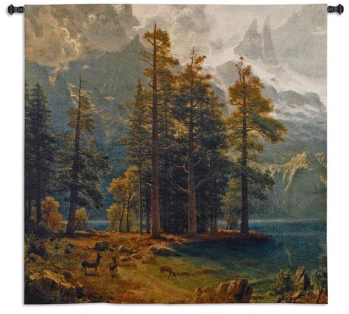 Sierra Nevada Tapestry Wall Hanging - Beautiful Wood Scene, 53in x 52in