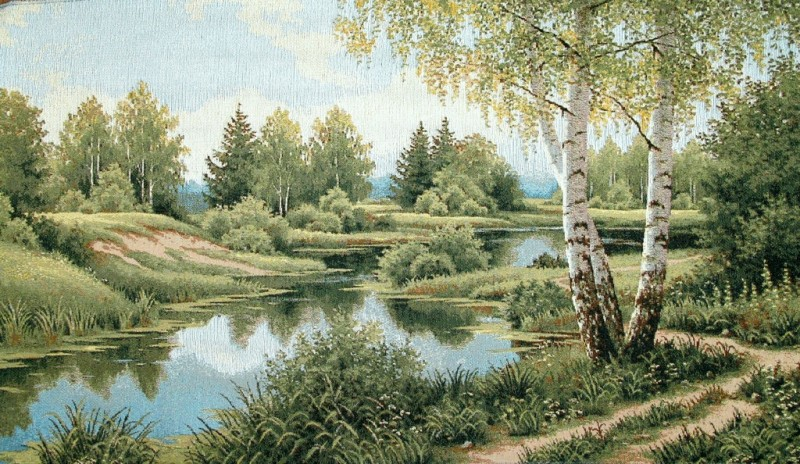 Silence Forest Scene Tapestry Wall Hanging - Swans Picture, 24in x 15in