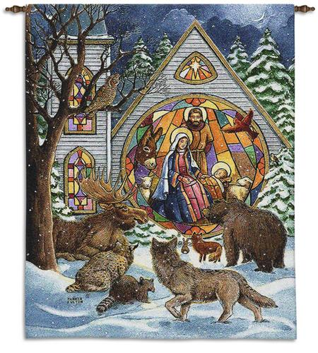 Snowfall Naitivty Tapestry Wall Hanging - Christmas Decor Idea, 36in X 24in