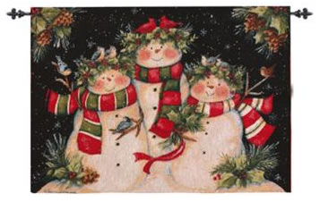 Snowman Family Wall Hanging, 26inx36in - Winter Holidays Decor Idea