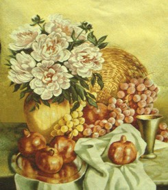 South Still Life Classic Still Life Tapestry Wall Hanging - Flowers & Fruits Picture, 24in x 29in