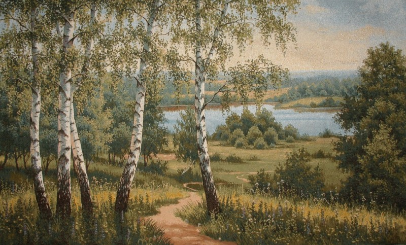 Summer Breath Wood Scene Tapestry Wall Hanging - Landscape Picture, 35in x 20in