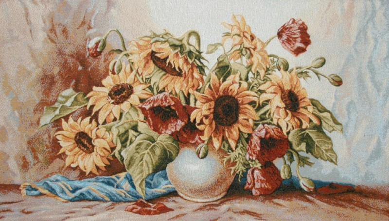 Sunflowers And Poppies Floral Still Life Tapestry Wall Hanging - Flowers In A Vase Picture, 42in x 24in
