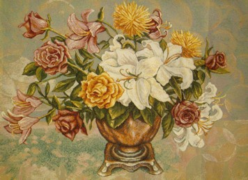 Sunny Bouquet Floral Still Life Tapestry Wall Hanging - Flowers In A Vase Picture, 36in x 24in