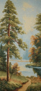 Sunrise Landscape Tapestry Wall Hanging - River Scene, 10in x 21in