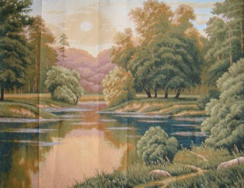 Sunset Forest Scene Tapestry Wall Hanging - Landscape Picture, 26in x 20in
