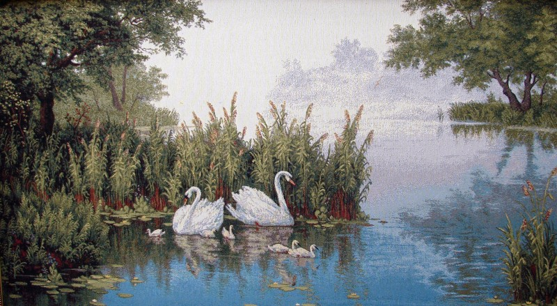 Swans By The Lake Forest Scene Tapestry Wall Hanging - Swans Picture, 50in x 28in