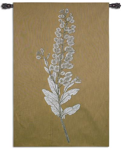 Taupe Nature Study III Tapestry Wall Hanging, 40in x 62in - Botanical Design
