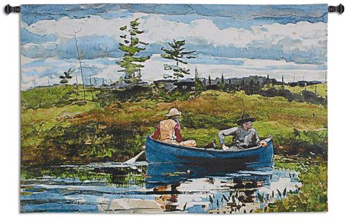 The Blue Boat Tapestry Wall Hanging, 53in x 35in - Landscape Painting of Winslow Homer