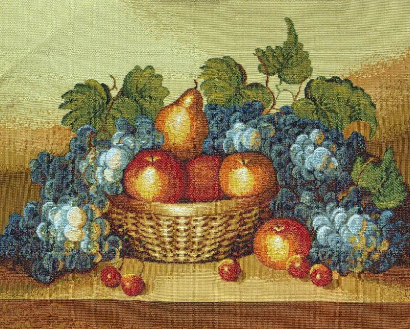The Gifts Of Nature Still Life Tapestry Wall Hanging - Fruit Picture, 17in x 14in