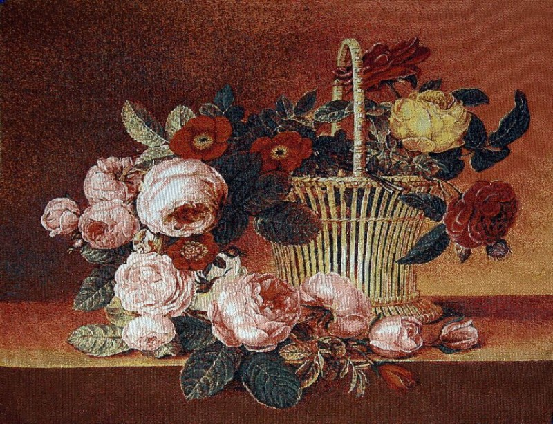 The Rose Basket Floral Still Life Tapestry Wall Hanging - Flowers In A Vase Picture, 24in x 22in