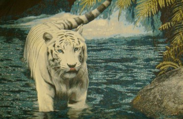 Tiger In The Water Wild Life Tapestry Wall Hanging - Animal Picture, 45in x 30in
