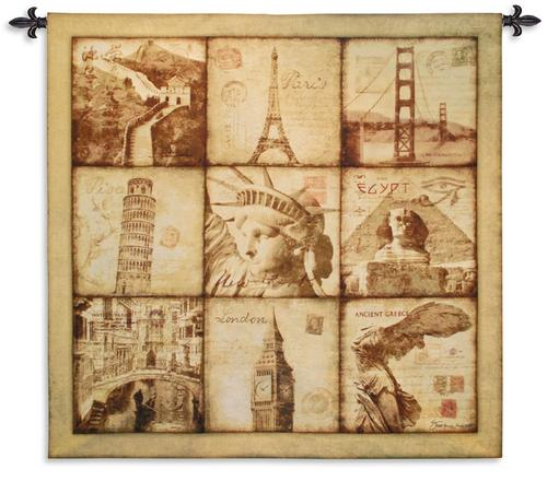 Travel Tapestry Wall Hanging, 53in x 53in - Collage Of The Famous Cities Of The World 