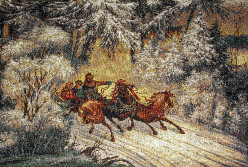 Troika Three Horses Winter Landscape Tapestry Wall Hanging - Russian Folk Picture, 25in x 17in