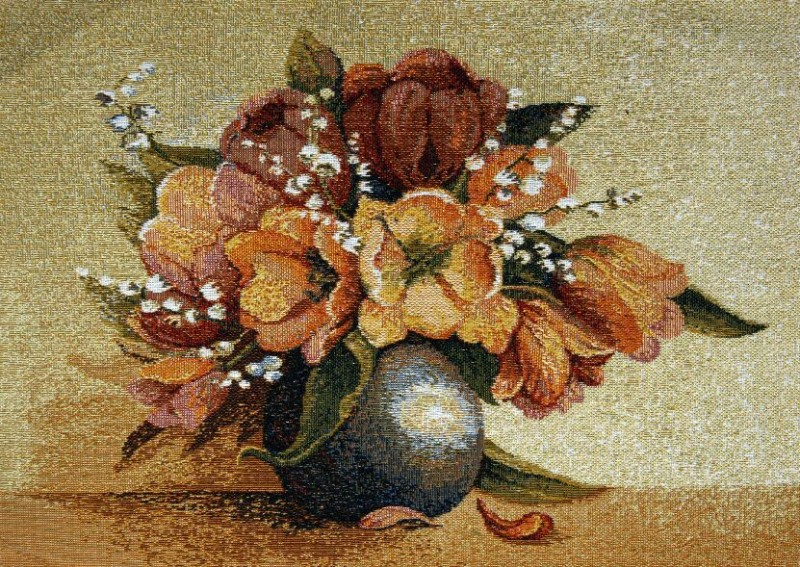 Tulips Floral Still Life Tapestry Wall Hanging - Flowers In A Vase Picture, 14in x 10in