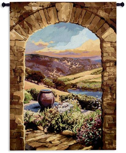 Tuscan Afternoon Tapestry Wall Hanging, 44in x 58in - European Landscape