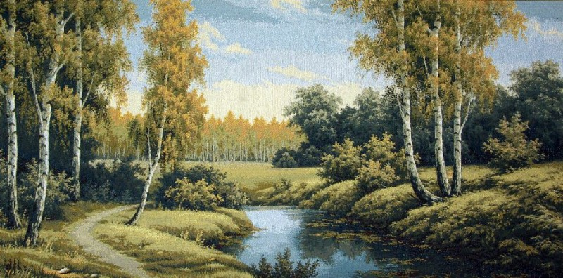 Variety Of Colors Wood Scene Tapestry Wall Hanging - Landscape Picture, 40in x 19in