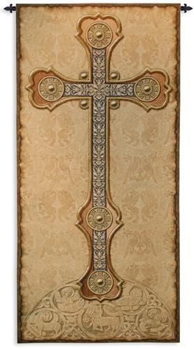 Vertical Cross Tapestry Wall Hanging, 60in x 28in - Christian Symbol