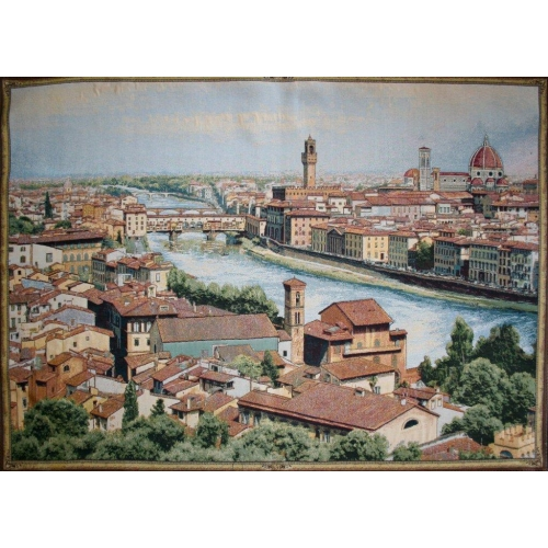View of Florence and the Arno Italian Tapestry Wall Hanging, 38in X 54in