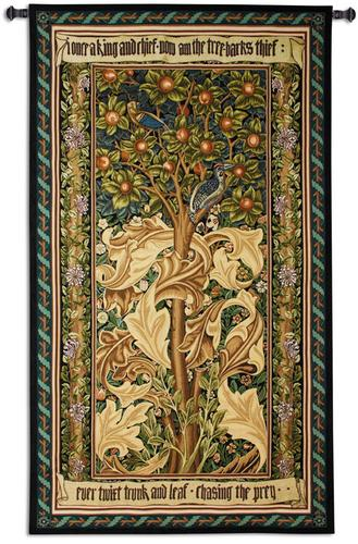 William Morris Woodpecker Tapestry Wall Hanging, 42in x 73in - Ornate Composition With A Fruit Tree