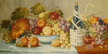 Wine Of The South Still Life Tapestry Wall Hanging - Fruit & Wine Picture, 48in x 24in