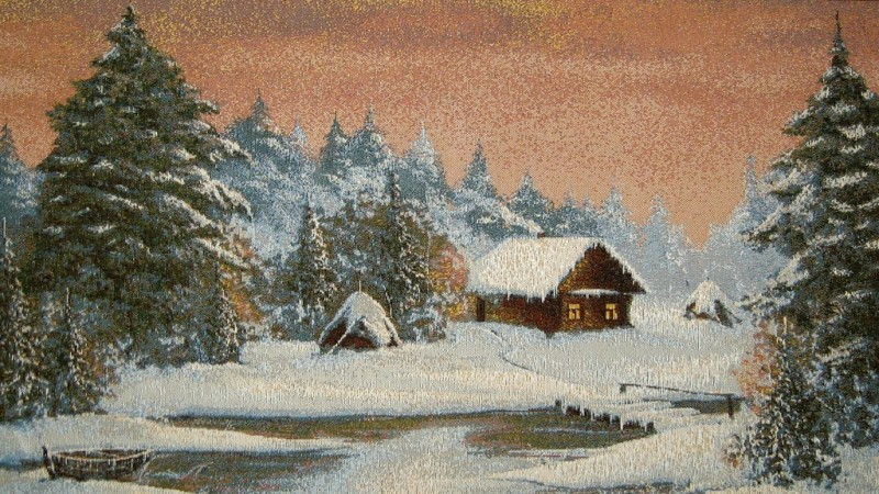 Winter Landscape Rural Scene Tapestry Wall Hanging - Countryside Picture, 26in x 15in