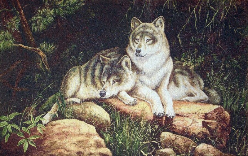 Wolfs Animal Tapestry Wall Hanging - Wolf Picture, 32in x 20in